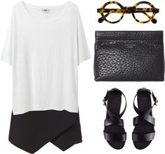 Casual Versatiles: Asymmetrical skorts, White/Grey slocuhy t-shirt, Black sandals, Black envelop clutch