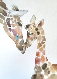 Giraffes - 9x12 Original watercolor painting - animals, mother and baby, impressionist, colorful, nature art