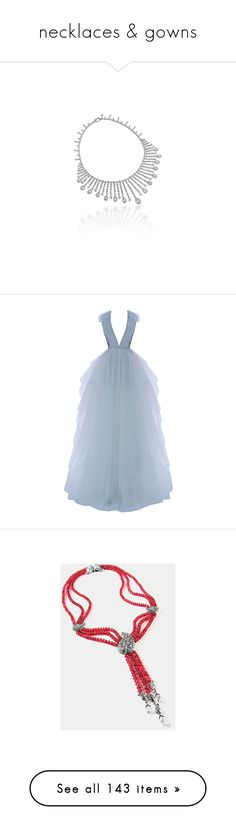 """necklaces & gowns"" by saltless ❤ liked on Polyvore featuring Prom, dress, jewelry, diamond, dresses, gowns, embroidery dresses, embroidered gown, tulle dress and tulle gown"