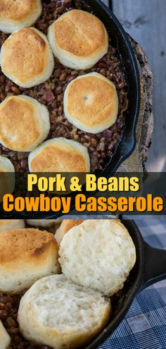 This delicious Pork & Beans Cowboy Casserole is bound to be a new family favourite for camping OR at home! Pulses Recipes, Pork Recipes, Real Food Recipes, Cooking Recipes, Easy Recipes, Supper Recipes, Delicious Dinner Recipes, Brunch Recipes, Cocktail Recipes