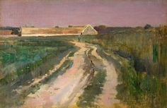 """""""Farmer on a Country Road,"""" Theodore Robinson, 1885, oil on canvas on board, 10 1/2 x 16"""", Godel & Co. Fine Art."""