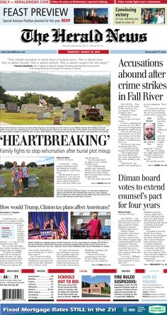 The front page of The Herald News for Thursday, Aug. 18, 2016.