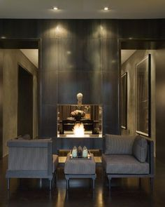 metal fireplace surround with lighting