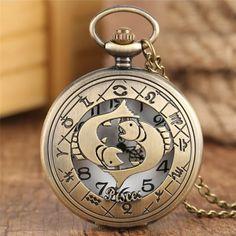 Quartz Pocket Watch, Quartz Watch, Pisces Fish, Best Gifts For Girls, Pocket Watch Necklace, Chain Pendants, Constellations, Bronze, Watches