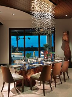Sophisticated Dining Room Chandelier Ideas In Wide Shape: Tropical Dining Room Design With Waterfall Pendant Lamp Design Above The Glass Top Dining Table Modern Dining Room Chandelier Ideas ~ SFXit Design Dining Room Inspiration Modern Dining Table, Modern Room, Dining Room Decor, Home Decor, Modern Dining Room, Tropical Dining Room, Modern Chandelier Dining, Room Design, Dining Room Design Modern