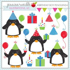 Birthday Boy Penguins Cute Digital Clipart for by JWIllustrations, $5.00