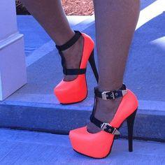 Shoespie T-Wrap Contrast Colors Platform Heels