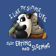 Just Eating and Sleeping - Panda - T-Shirt Cute Cartoon Drawings, Cute Animal Drawings, Kawaii Drawings, Cute Panda Wallpaper, Cute Disney Wallpaper, Cute Puns, Cute Memes, Panda Wallpapers, Cute Cartoon Wallpapers
