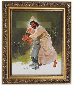 Batting for Jesus Christ by Artist Zdinak Print in Ornate Gold Frame