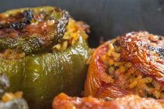 Absolutely delicious dishes you need to try. Greek Recipes, Light Recipes, Vegan Recipes, Cooking Recipes, Greek Desserts, Galaktoboureko Recipe, Greek Stuffed Peppers, Veggie Dinner, Greek Cooking