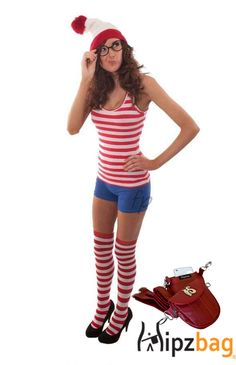 Can you spot this cute Waldo costume? How about the adorable matching red Hipzbag? #HipzbagHalloween #whereswaldo