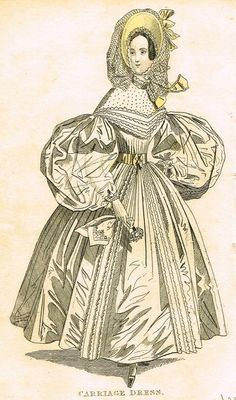 """Lady's Cabinet Fashion Plate - """"CARRIAGE DRESS (WHITE)"""" - Hand-Colored Engraving - 1830s"""