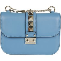 Valentino Small Leather Shoulder Bag ($1,320) ❤ liked on Polyvore featuring bags, handbags, shoulder bags, blue, blue shoulder bag, valentino handbags, valentino purses, genuine leather handbags and blue purse