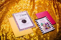 Time to sparkle & shine confetti New Year's Eve invitation idea. Black, white, gold & hot pink.  Stripes + polka dots. Could also be used for a wedding invitation! www.dgdinvitations.com