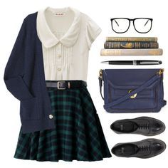 Starting Today by sweetpastelady on Polyvore featuring moda, ASOS, Topshop, Montblanc, school, uniform, preppy, plaid and cardigan