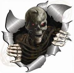 Large Metal Rip Open Torn Skeleton Skull Sticker JDM Race Car Van Bike Drift