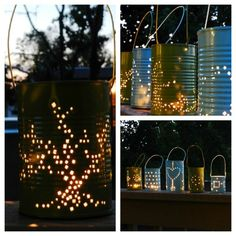 Rinse a tin can, fill with water and freeze, pound holes into a design with hammer and nail while frozen, unfreeze, add bailing wire for handle and a tealight!!