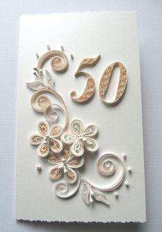 Šťastný 50. narozeniny Přání - Anniversary Card - Gold svatební výročí dárek - Paper Art Gift Card - Dárek pro mámu - dárek pro ni