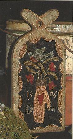 Primitive Folk Art Punchneedle Pattern:   HEART & HAND -- Weavers Cloth Included