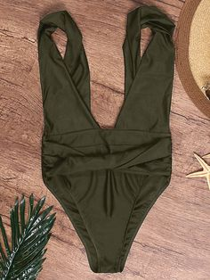 b8e5b2ed163 Plus Size Sexy Deep V Twisted High Waist Backless Solid Color Monokini  Swimsuits For Women is fashionable and cheap, come to NewChic to see more  trendy Plus ...