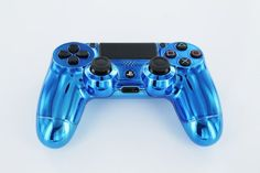 """Blue Diamond"" PS4 Custom Modded Controller REAL CHROME Limited Edition (NOT STICKER or WRAP) Made in USA Original Dualschock 4, Playstation"
