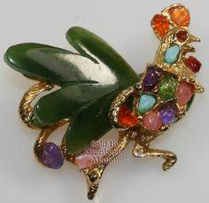 Vintage Swoboda Semi Precious Stone Rooster Brooch