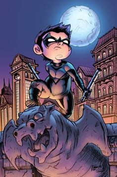 A coloring commission for of a chibi Nightwing. Pencils and Inks: Richard Colors by Me Colored with Photoshop and a Wacom Lil' Nightwing Batgirl, Catwoman, Dc Comics, Dickie Bird, Richard Grayson, Nightwing And Starfire, New Teen, Chibi Characters, Fan Art