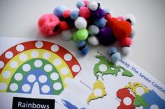 Magnetic pom poms! A clever idea with lots of possible uses. Pint you cards and use them on the fridge or in a metal baking tray!