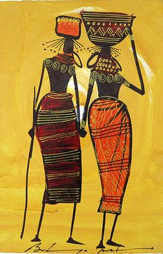 inside african art | Bulinya AfricanWomen African American Artwork, African Artwork, African Art Paintings, Cool Paintings, African Drawings, Costume Africain, Haitian Art, Caribbean Art, Indian Folk Art