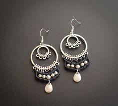 Pendientes negros plata, pendientes negros étnicos de macramé, pendientes hippies elfo de micro macramé, joyas en micromacramé