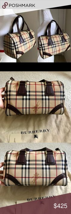 1f2f5d1044 Euc Burberry haymarket check tote Boston 100%Authentic guaranteed Burberry  vintage haymarket check small Boston