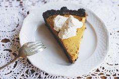 Gingersnap pumpkin pie with bourbon whipped cream