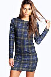 Indi Check Long Sleeve Bodycon Dress