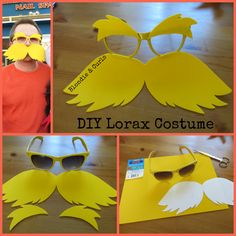 Quick and easy tutorial on making Lorax sunglasses from Dr. Seuss. Baby shower fun for other kids.