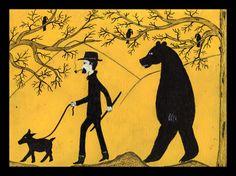 Hike in woods and Bear   blackgoatfolkart@yahoo.com