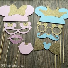 15-pc Mickey & Minnie GLITTER Photo Props  by ktbluecreations
