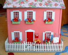 colorful dollhouse exterior from jenny b allsorts (love the pink and red combo)
