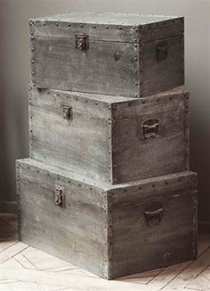 I would love to build a nice set of trunks for each of my kids & then stencil or carve their names on the side of each piece.