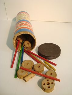 The same can and type of Tinker Toy we had as kids.