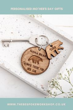 Mummy Bear... Always there for her cubs.Designed and made in house, as always. This keyring and charm set will make the perfect gift to give to your mum or grandma this Mother's Day.As standard you will receive the main keyring disc along with one bear charm engraved with a personalised name. Gifts For Mum, Grandma Gifts, Home Gifts, Gifts For Friends, Personalised Keyrings, Personalized Gifts, Mum Jokes, Daddy Bear, Original Gifts