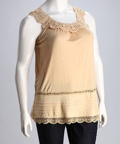 Look what I found on #zulily! Taupe Lace Sleeveless Top - Plus #zulilyfinds