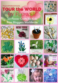 Tour the World by Flower - 25 Flower Crafts for Kids by kids activity bloggers from around the world!  Featuring 16 US states and 9 international countries or counties.  Flower crafts for kids of all ages!