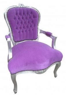 French Silver And Purple Buttoned Velvet Louis Armchair