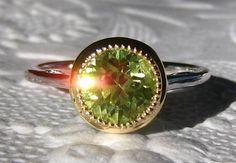 Precision-Cut Neon Chrysoberyl Gold Milgrain Bezel Engagement Ring, by JuliaBJewelry, $1095.00