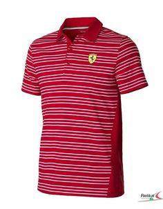 Koszulka Polo Ferrari Striped - Red | FERRARI MEN \ POLO | Fbutik | Scuderia Ferrari Collection