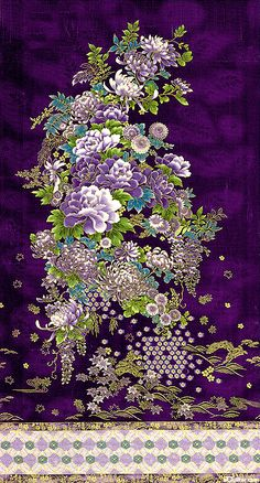 Love this Asian floral panel with border and gold metallic, from Kaufman!