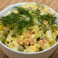 (Special Russian Potato Salad) You say potato. We say potato salad. This loaded potato salad has everything but the kitchen sink. In addition to potatoes, turkey hot dogs, pickles, eggs, peas and green onions all put in guest appearances. Side Dish Recipes, Side Dishes, Russian Potato Salad, Loaded Potato Salad, Old Fashioned Potato Salad, Recipe Of The Day, Pasta Salad, Hot Dogs, Quinoa