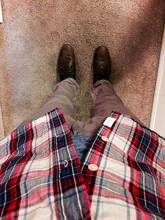 Steve Madden boots, joggers, banana republic long sleeve under a h&m button up