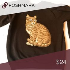 CRAZY CAT LADY Part II INCREDIBLE cat applique sweatshirt. Brown. XL. Gently used, very good condition. The best part is the gold glitter whiskers and gold glitter outline!  A bedazzler's dream come true. Here, kitty kitty! Vintage Tops Sweatshirts & Hoodies
