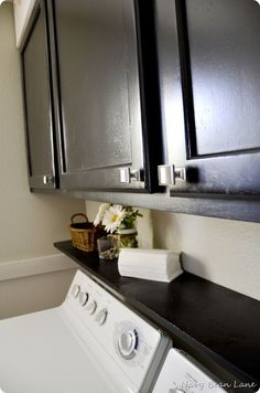 Navy Bean Lane: Black Bathroom & Laundry Room Cabinets Before & After #food #recipe